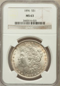 Morgan Dollars: , 1896 $1 MS63 NGC. NGC Census: (12159/20511). PCGS Population(12041/16886). Mintage: 9,976,762. Numismedia Wsl. Price for p...