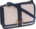Luxury Accessories:Bags, Hermes Toile & Navy Calf Box Leather Sac Sologne III ShoulderBag. ...