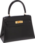 Luxury Accessories:Bags, Hermes 20cm Black Calf Box Leather Mini Kelly Bag with GoldHardware. ...