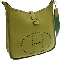 Hermes Vert Chartreuse Clemence Leather Evelyne III Crossbody Bag