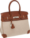 Luxury Accessories:Bags, Hermes 30cm Natural Barenia Leather & Toile Birkin Bag withPalladium Hardware. ...