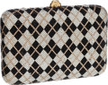 Luxury Accessories:Bags, Judith Leiber Full Bead Black & Gold Plaid Crystal MinaudiereEvening Bag. ...