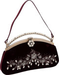 Luxury Accessories:Bags, Valentino Burgundy Velvet, Pearl & Crystal Evening Bag. ...