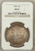 Morgan Dollars: , 1896 $1 MS63 NGC. NGC Census: (12310/20580). PCGS Population(12150/16976). Mintage: 9,976,762. Numismedia Wsl. Price for p...