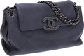 Luxury Accessories:Bags, Chanel Slate Blue Lambskin Leather Flap Shoulder Bag with Gunmetal Hardware. ...