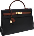 Luxury Accessories:Bags, Hermes Special Order 40cm Two-Tone Black & Noisette ArdennesLeather Retourne Kelly Bag with Gold Hardware. ...