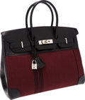 Luxury Accessories:Bags, Hermes 35cm Black Calf Box Leather & Rouge H Potamas CanvasBirkin Bag with Palladium Hardware. ...
