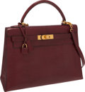 Luxury Accessories:Bags, Hermes 32cm Rouge H Lizard Sellier Kelly Bag with Gold Hardware....