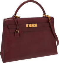 Hermes 32cm Rouge H Lizard Sellier Kelly Bag with Gold Hardware