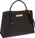 Luxury Accessories:Bags, Hermes 32cm Black Lizard Sellier Kelly Bag with Gold Hardware. ...
