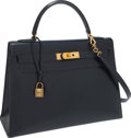 Luxury Accessories:Bags, Hermes 32cm Blue Marine Calf Box Leather Sellier Kelly Bag withGold Hardware. ...