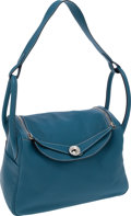 Luxury Accessories:Bags, Hermes 30cm Blue Jean Clemence Leather Lindy Bag with Palladium Hardware. ...