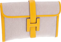 Hermes Jaune Epsom Leather & Toile Jige MM H Clutch