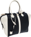 Luxury Accessories:Bags, Louis Vuitton Navy & White Leather Speedy North South TopHandle Bag. ...