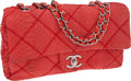 Luxury Accessories:Bags, Chanel Red Python Single Flap Bag with Silver Hardware. ...
