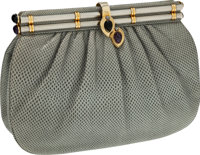 Judith Leiber Gray Lizard Clutch with Cabochon Frame Closure & Shoulder Strap