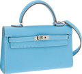 Luxury Accessories:Bags, Hermes 15cm Celeste Epsom Leather Micro-Mini Kelly Bag with Palladium Hardware. ...