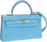 Hermes 15cm Celeste Epsom Leather Micro-Mini Kelly Bag with Palladium Hardware