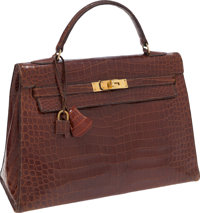 Hermes 32cm Shiny Miel Crocodile Sellier Kelly Bag with Gold Hardware