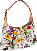 Luxury Accessories:Bags, Gucci Leather & Floral Canvas Jackie Shoulder Bag with SilverPiston Closure. ...