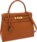 Luxury Accessories:Bags, Hermes 28cm Vache Naturelle Retourne Kelly Bag with Gold Hardware....