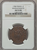 Colonials, 1788 1C Massachusetts Cent, Period AU53 NGC. Ryder 10-L, W-6280,High R.2....