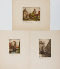 Books:Prints & Leaves, [Etchings]. Group of Three Signed Original Early 20th CenturyEtchings, Two with Hand-Coloring. Approx. 11.75 x 9 inches. Ve...