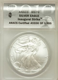 Modern Bullion Coins, 2010 $1 Silver Eagle, Inaugural Strike MS70 ANACS. #0556 of 1,995.NGC Census: (44256). PCGS Population (25693)....