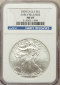 Modern Bullion Coins, 2008 $1 One Ounce Silver Eagle Early Releases MS69 NGC. NGC Census:(42912/4152). PCGS Population (300480/10759)....