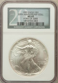 Modern Bullion Coins, 1995 $1 Silver Eagle 20th Anniversary Coll MS69 NGC. #983 of 2005.NGC Census: (77518/465). PCGS Population (4121/1). Minta...