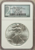 Modern Bullion Coins, 1999 $1 Silver Eagle 20th Anniversary Coll MS69 NGC. #983 of 2005.NGC Census: (72413/88). PCGS Population (3500/0). Numis...
