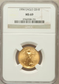 Modern Bullion Coins: , 1994 G$10 Quarter-Ounce Gold Eagle MS69 NGC. NGC Census: (482/33).PCGS Population (394/2). Mintage: 72,650. Numismedia Wsl...