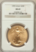 Modern Bullion Coins: , 1999 G$50 One-Ounce Gold Eagle MS69 NGC. NGC Census: (1321/98).PCGS Population (1420/14). Numismedia Wsl. Price for probl...