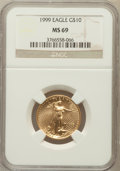 Modern Bullion Coins: , 1999 G$10 Quarter-Ounce Gold Eagle MS69 NGC. NGC Census: (981/73).PCGS Population (1179/11). Numismedia Wsl. Price for pr...