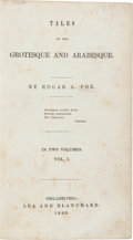 Books:Literature Pre-1900, Edgar Allan Poe. Tales of Grotesque and Arabesque.Philadelphia: Lea and Blanchard, 1840. First edition, one ofonly...