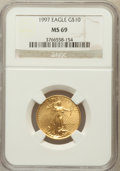 Modern Bullion Coins: , 1997 G$10 Quarter-Ounce Gold Eagle MS69 NGC. NGC Census: (479/9).PCGS Population (398/7). Mintage: 108,805. Numismedia Wsl...