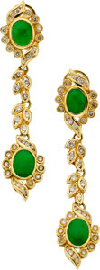 Estate Jewelry:Earrings, Jadite Jade, Diamond, Gold Earrings. ...