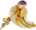 Estate Jewelry:Brooches - Pins, Multi-Stone, Diamond, Shell, Gold Brooch, Griffin. ...