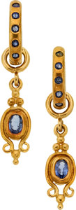 Estate Jewelry:Earrings, Sapphire, Gold Earrings, Loree Rodkin. ...