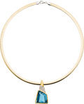 Estate Jewelry:Necklaces, Blue Topaz, Diamond, Gold Necklace. ...