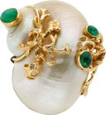 Estate Jewelry:Brooches - Pins, Shell, Emerald, Gold Brooch, Seaman Schepps. ...