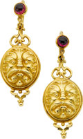 Estate Jewelry:Earrings, Garnet, Gold Earrings, Paul Lantuch. ...