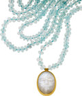 Estate Jewelry:Necklaces, Moonstone, Aquamarine, Gold Necklace. ...