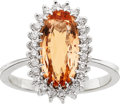Estate Jewelry:Rings, Imperial Topaz, Diamond, White Gold Ring. ...