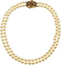 Estate Jewelry:Necklaces, Ruby, Emerald, Diamond, Cultured Pearl, Gold Necklace. ...