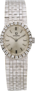 Estate Jewelry:Watches, Omega Swiss, Lady's Diamond, White Gold Wristwatch. ...