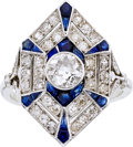 Estate Jewelry:Rings, Art Deco Diamond, Sapphire, Platinum Ring. ...