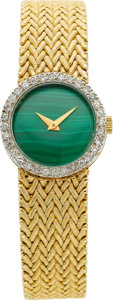 Estate Jewelry:Watches, Swiss Lady's Malachite, Diamond, Gold Wristwatch. ...