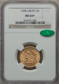 Liberty Half Eagles, 1908 $5 MS64+ NGC. CAC....