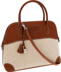 Luxury Accessories:Bags, Hermes 31cm Natural Barenia Leather & Toile Sellier Bolide Bagwith Palladium Hardware. ...